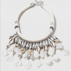 Topshop Conch Shell & Feather Statement Necklace